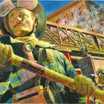 Illustration of Firefighter Face by Chris Soentpiet.