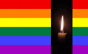 rainbow flag candle