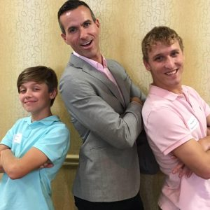 Braeden Lange, Cyd Zeigler, and Jonathan Peters: rocking the pastels! (Thanks to Jonathan for the photo.)